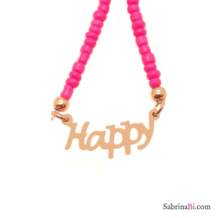 Fuchsia micro beads Happy choker necklace