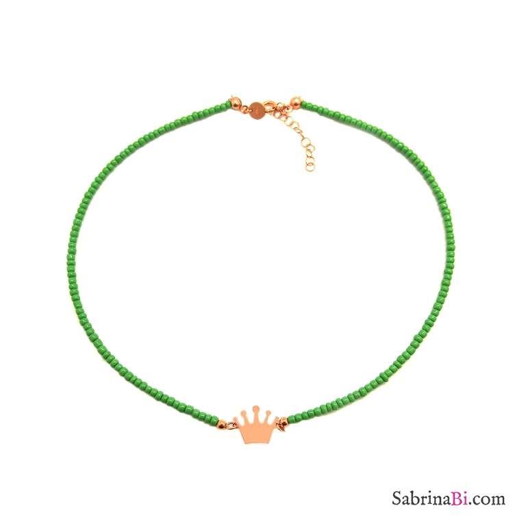 Collana choker micro perline vetro verdi Corona