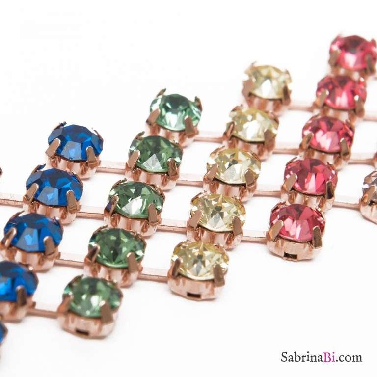 Collana choker Rainbow cristalli Swarovski multicolor