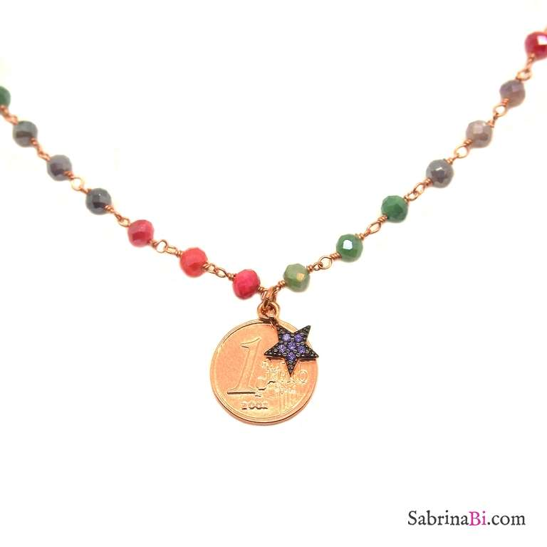 Collana choker rosario argento 925 oro rosa cristalli multicolor moneta e stellina
