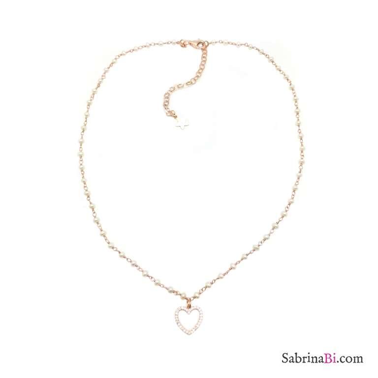 Collana choker rosario argento 925 oro rosa Perle e cuore Zirconi