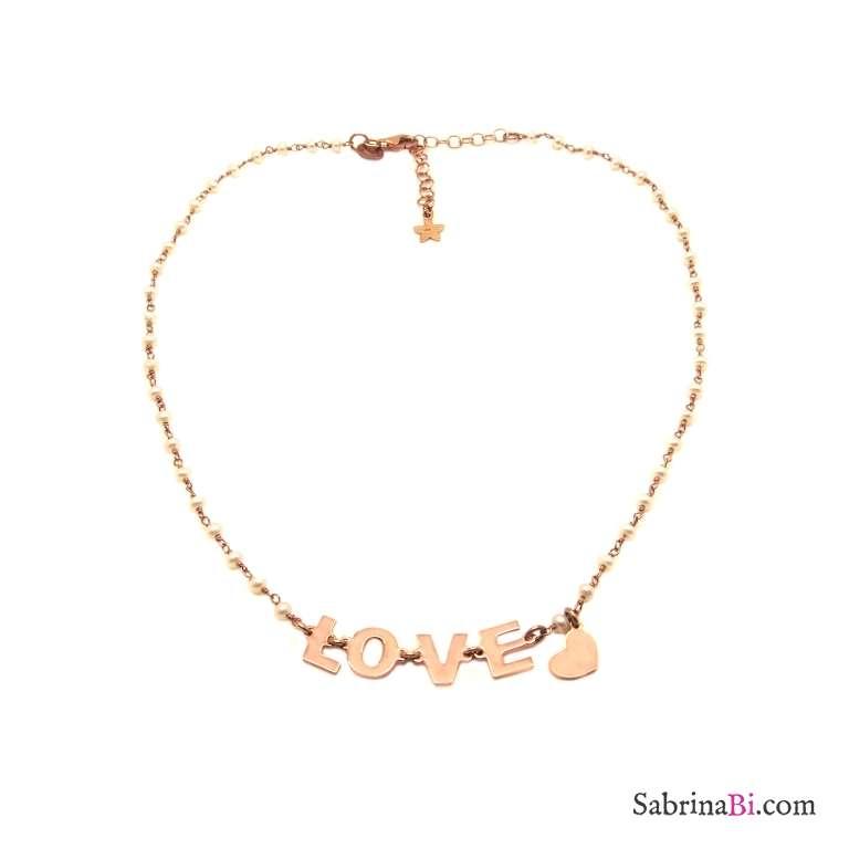Collana choker rosario argento 925 oro rosa perle LOVE