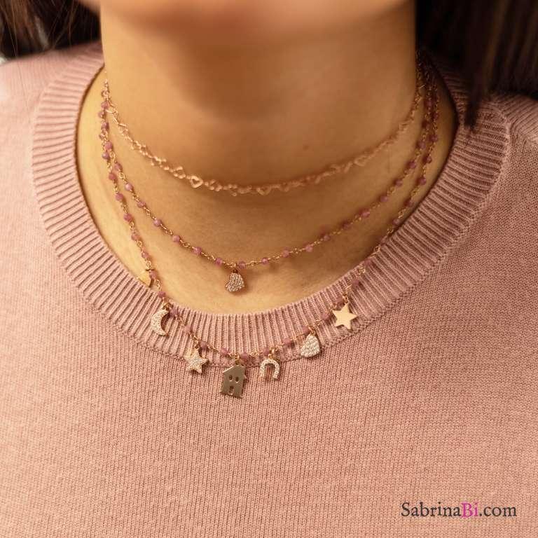Collana choker rosario argento 925 oro rosa Quarzo rosa e 7 charms