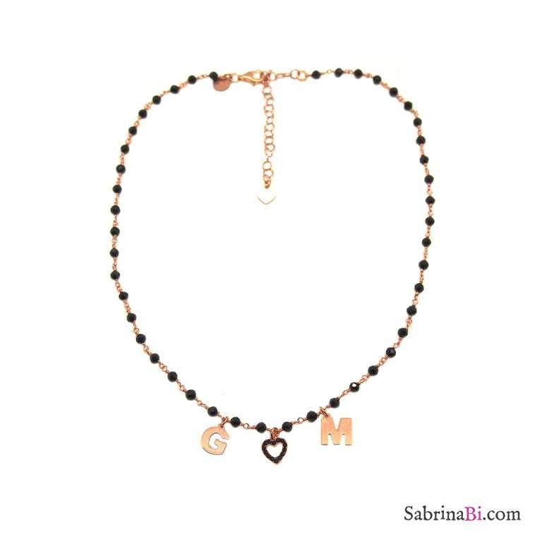 Collana choker rosario argento 925 oro rosa Spinelli neri 2 lettere iniziali nome