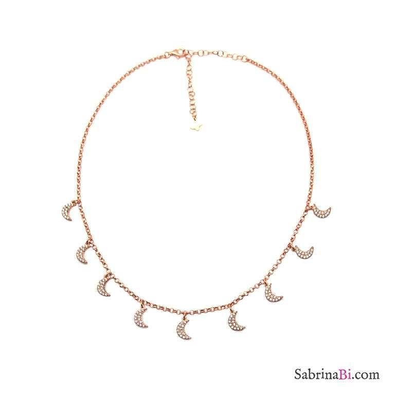 Collana choker strangolino argento 925 oro rosa multi Luna Zirconi