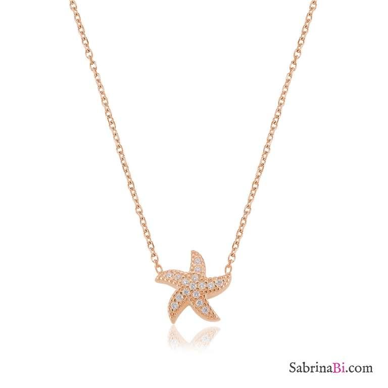 Collana corta argento 925 oro rosa Stella Marina brillanti