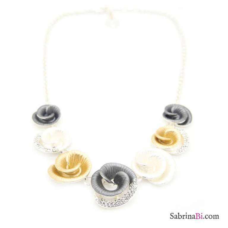 Collana corta argento motivo floreale