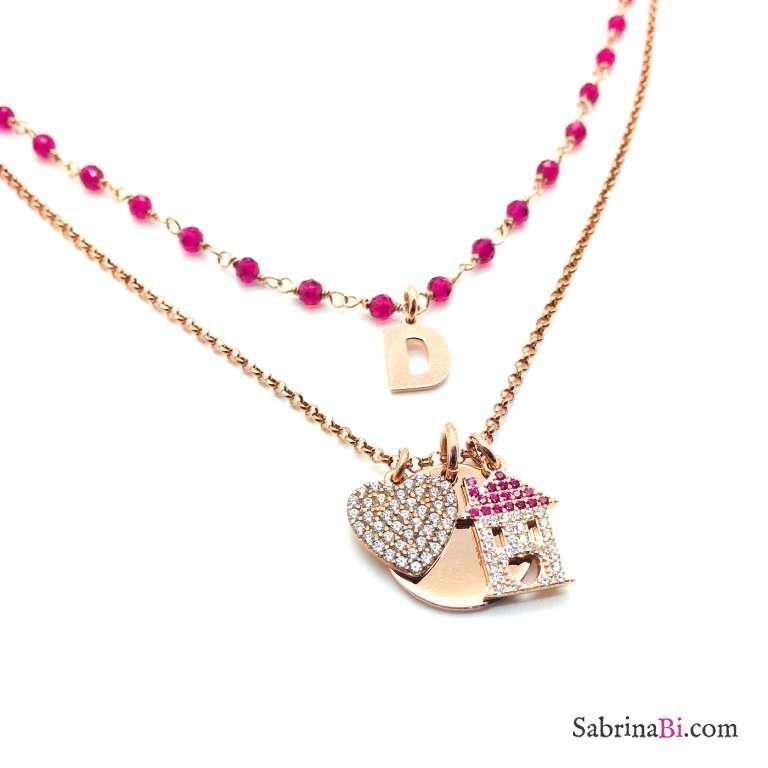 Collana doppia argento 925 oro rosa Chanel