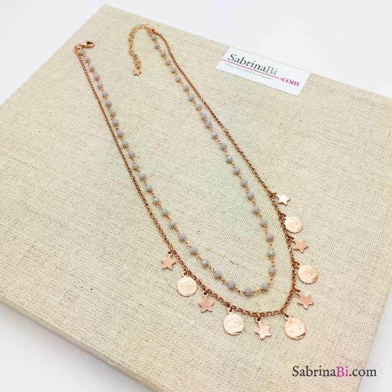 Collana doppia argento 925 oro rosa Lakshmi