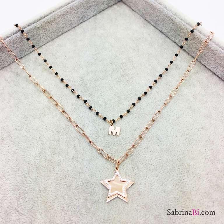 Collana doppia argento 925 oro rosa Layla