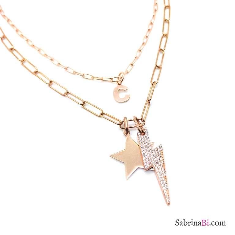 Collana doppia argento 925 oro rosa Lola