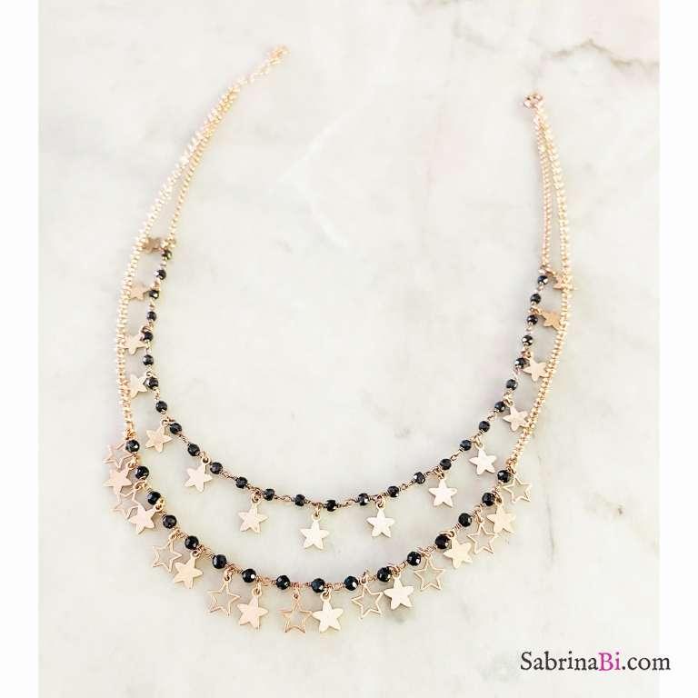 Collana doppia argento 925 oro rosa Shining Stars