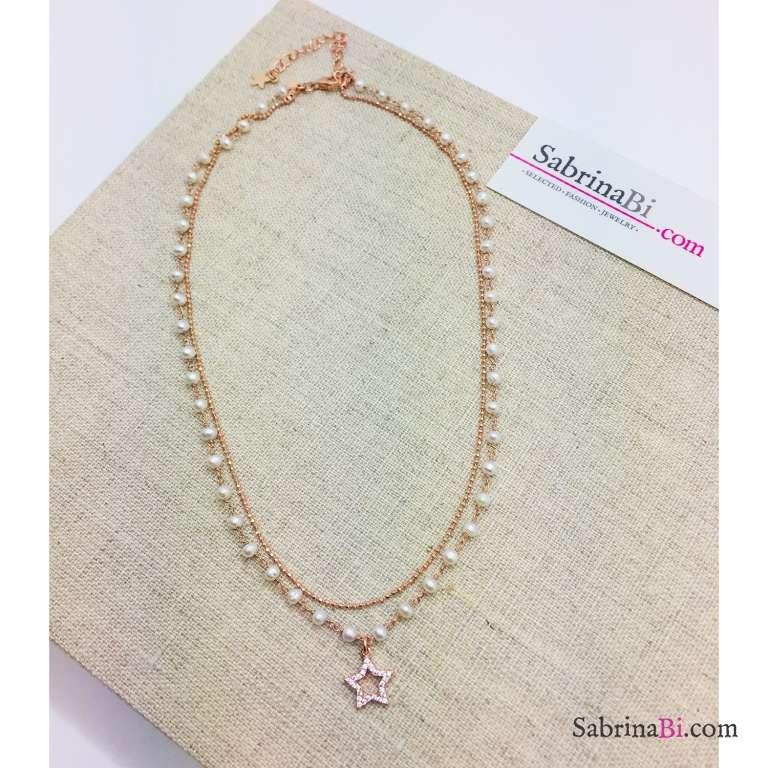 Collana doppia rosario argento 925 oro rosa perle di fiume e stella Zirconi