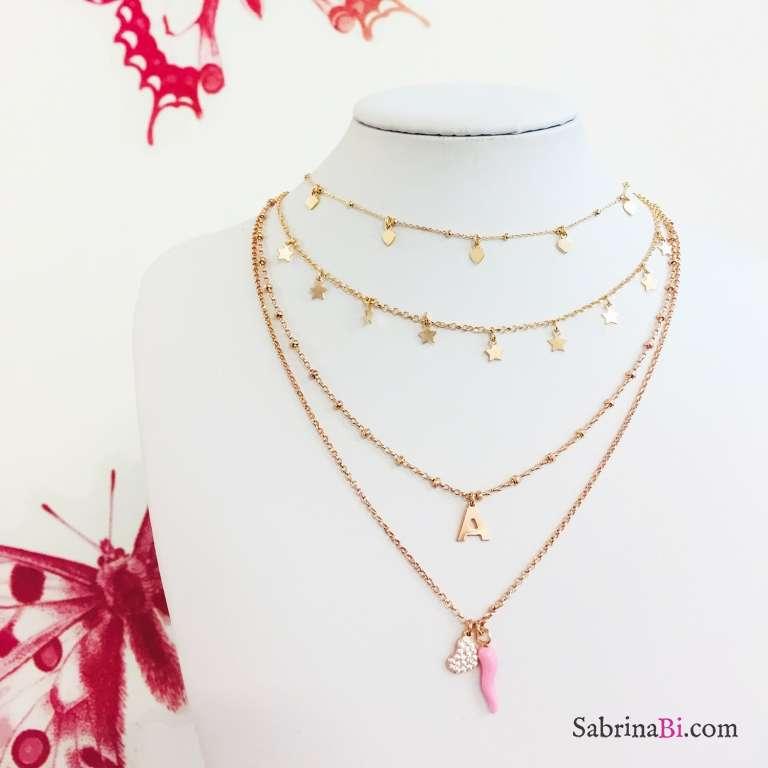 Collana due fili argento 925 oro rosa lettera iniziale Cuore Zirconi e Cornetto rosa