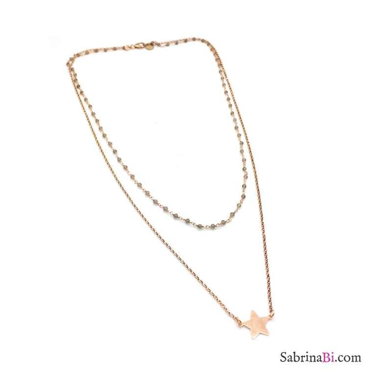 Collana due fili argento 925 oro rosa rosario Opale verde e stella