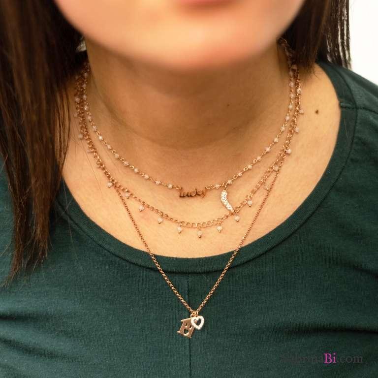 Collana due fili argento 925 oro rosa rosario Pietra di Luna, casetta e cuore Zirconi