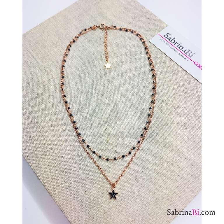 Collana due fili argento 925 oro rosa rosario Spinelli neri e stella Zirconi
