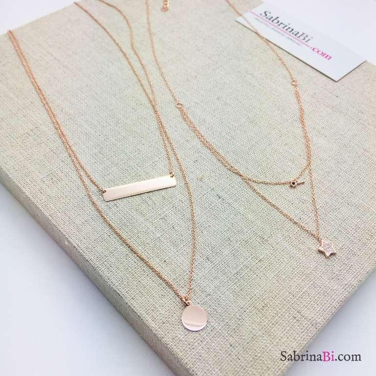 Collana due fili argento 925 oro rosa Stella e bacchetta magica