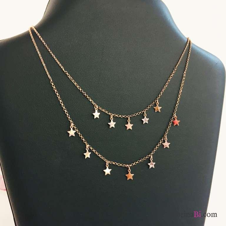 Collana due fili argento 925 oro rosa Tutto Stelle