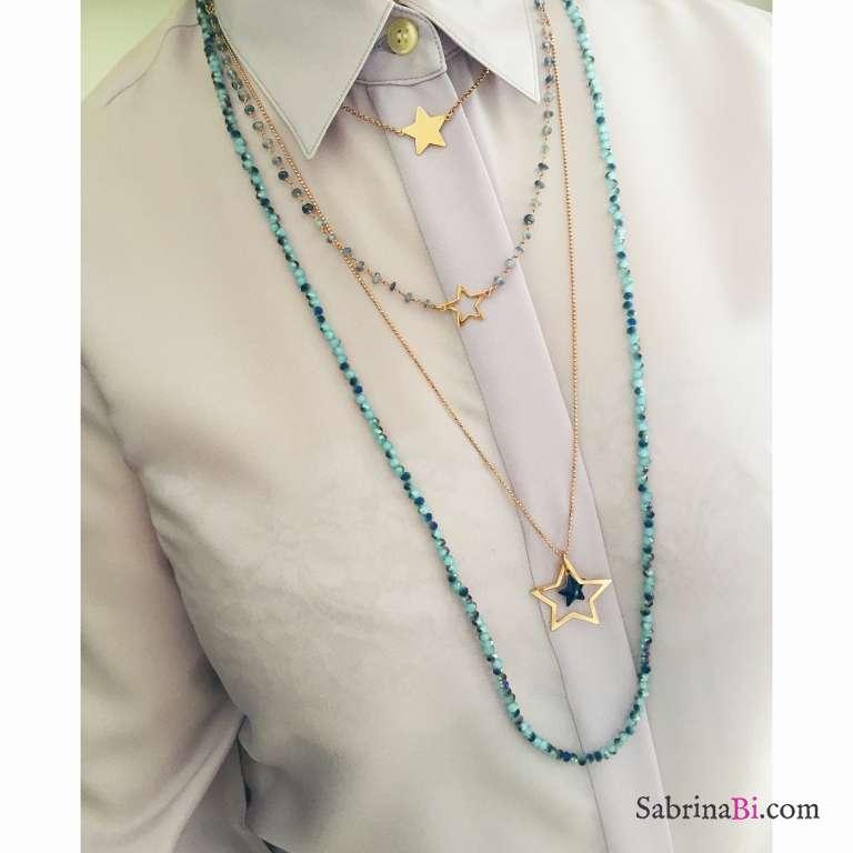 Collana due fili rosario argento 925 oro rosa pietre dure blu e stelle