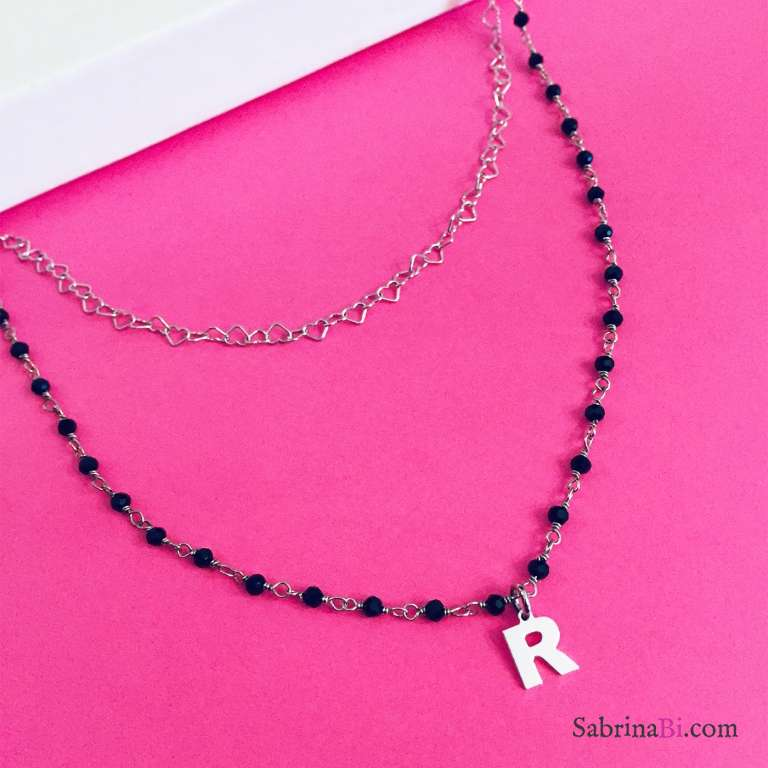 Collana due fili rosario Spinelli argento 925 Lettera