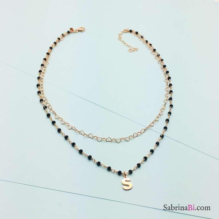 Collana due fili rosario Spinelli argento 925 oro rosa Lettera