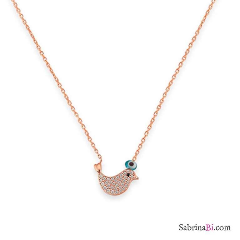 Collana girocollo argento 925 bagno oro rosa Uccellino brillanti