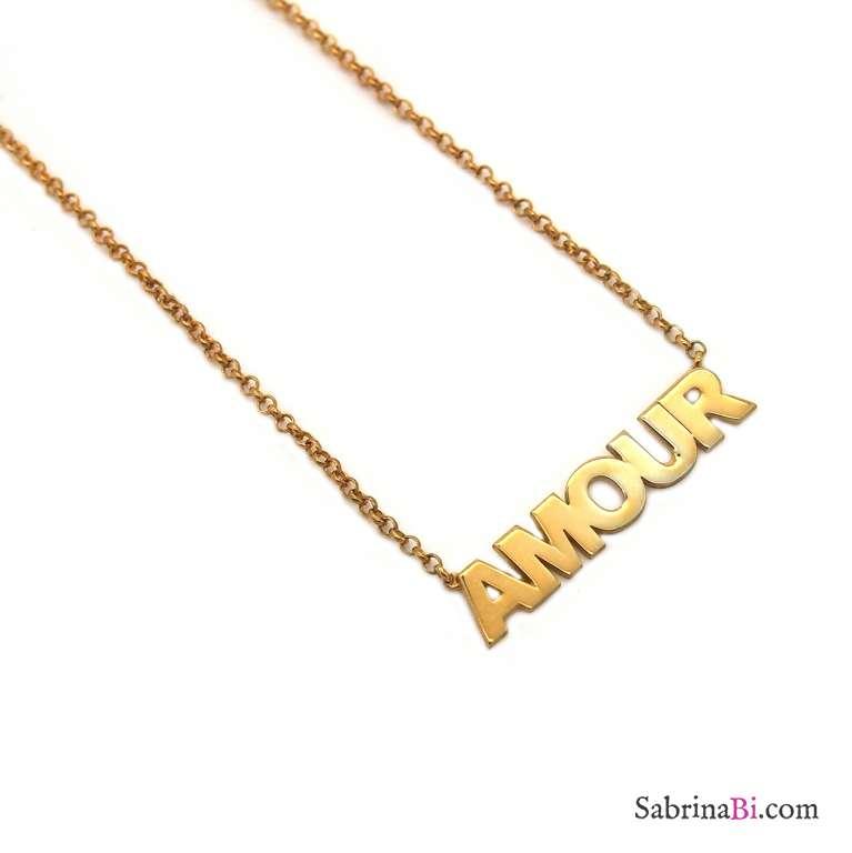 Collana girocollo argento 925 oro giallo Amour