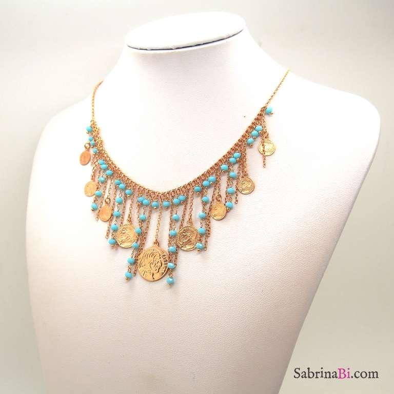 Collana girocollo argento 925 oro rosa cascata pietre azzurre e Monete