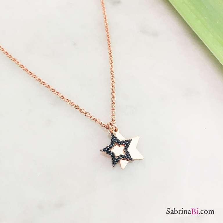 Collana girocollo argento 925 oro rosa Doppia stella Zirconi neri
