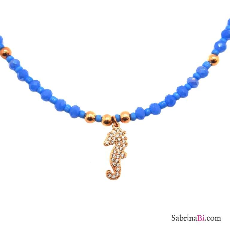 Turquoise Jade and Zirconia Seahorse rose gold sterling silver necklace