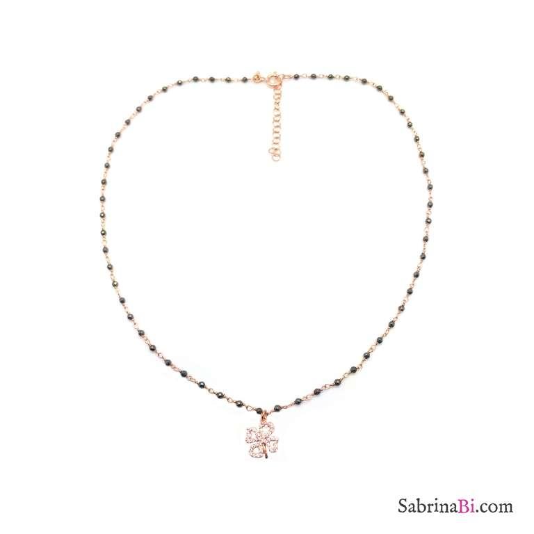 Collana girocollo argento 925 oro rosa micro rosario con Quadrifoglio Zirconi