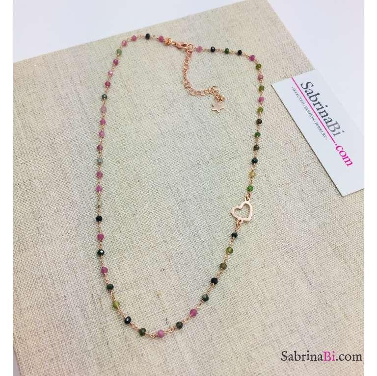 Collana girocollo argento 925 oro rosa rosario Tormalina e cuore