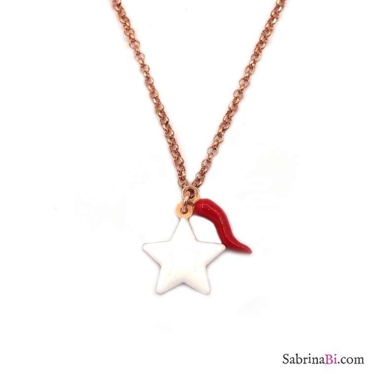 Collana girocollo argento 925 oro rosa stella bianca grande e cornetto