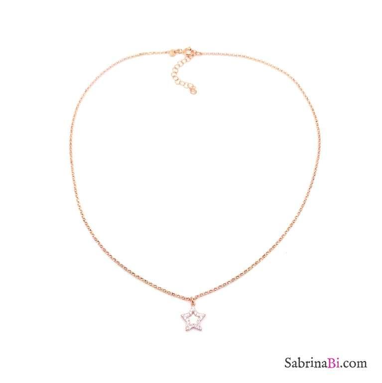 Collana girocollo argento 925 oro rosa Stella vuota Zirconi