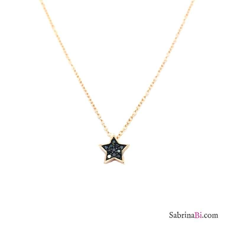 Collana girocollo argento 925 oro rosa Stella Zirconi neri passante