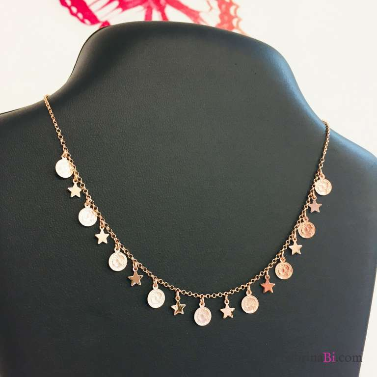 Collana girocollo argento 925 oro rosa stelle e monete