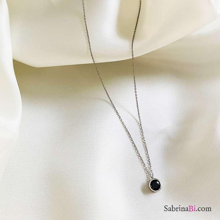 Collana girocollo argento 925 punto luce Zircone nero