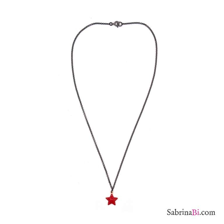 Collana girocollo argento 925 rodiato nero stella smalto rossa