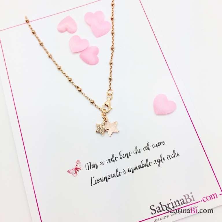 Collana girocollo argento 925 rosario oro rosa Due Stelle