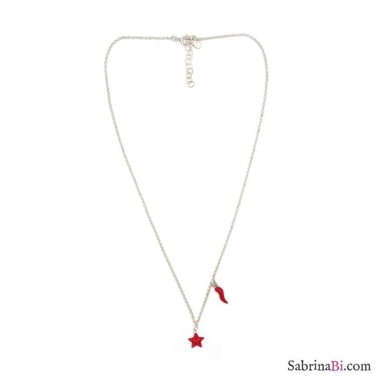 Collana girocollo argento 925 stella e cornetto smalto rosso