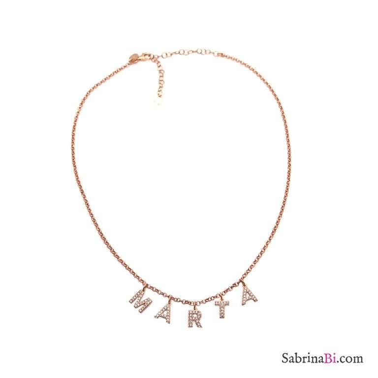 Collana girocollo choker argento 925 oro rosa 5 lettere Zirconi nome personalizzato
