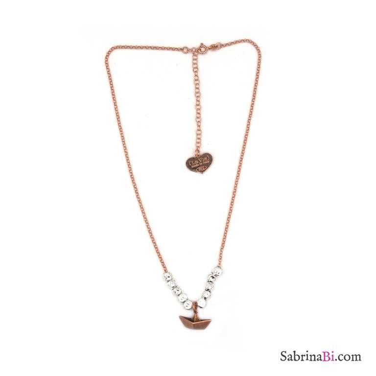 Collana girocollo/choker argento 925 oro rosa Pepite e Barchetta