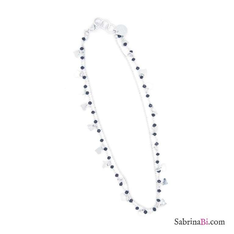 Collana girocollo choker argento doppia rosario nero e cuori