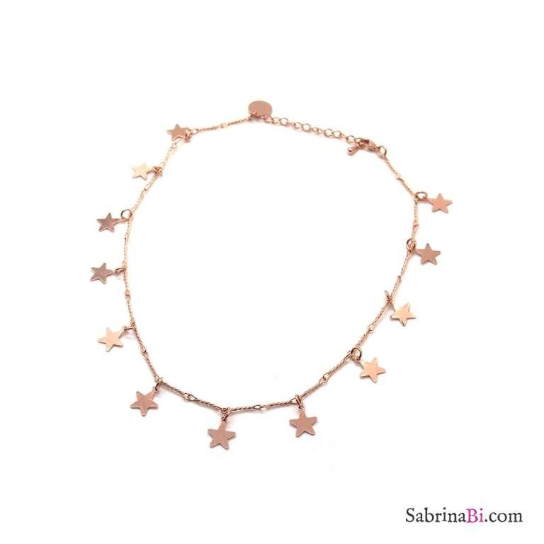 Collana girocollo/choker oro rosa ciondoli stelle