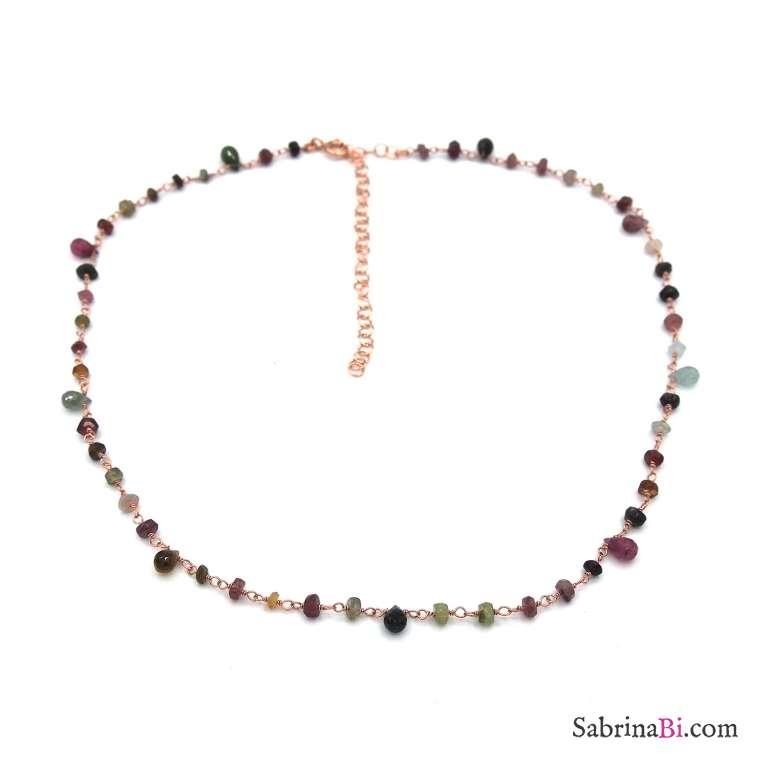 Collana girocollo choker rosario argento 925 oro rosa pietre dure multicolor goccia