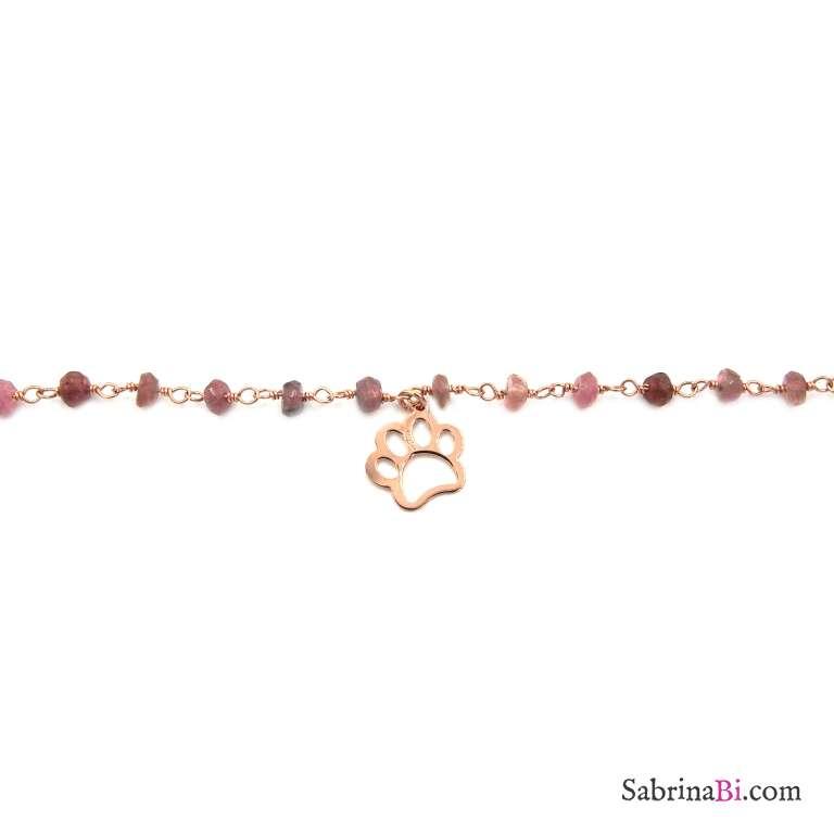 Collana girocollo choker rosario argento 925 oro rosa pietre rosa e impronta orma zampa