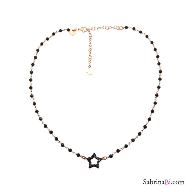 Collana girocollo choker rosario argento 925 oro rosa Spinelli neri e stella vuota Zirconi neri
