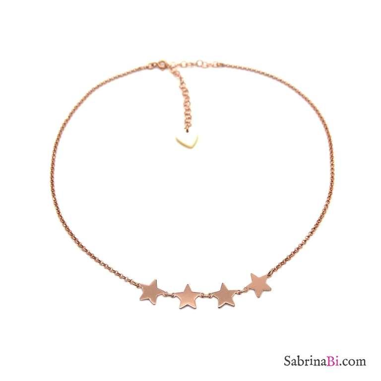 Collana girocollo/ choker/ strozzacollo argento 925 oro rosa 4 Stelle