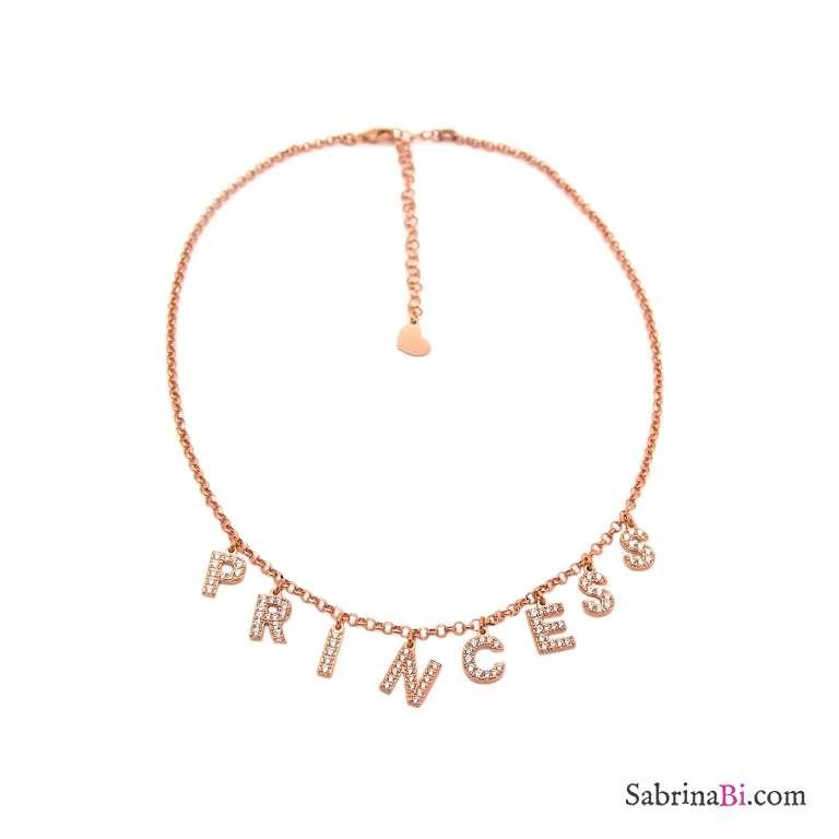 Collana girocollo choker strozzacollo argento 925 oro rosa Princess Zirconi